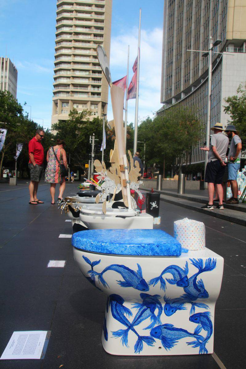 Engineers Without Borders Program asked 25 Sydney artists to each paint a toilet, including Cobie's as pictured. These were displayed at Circular Quay, Sydney, on World Toilet Day to promote awareness around sanitation in developing countries.