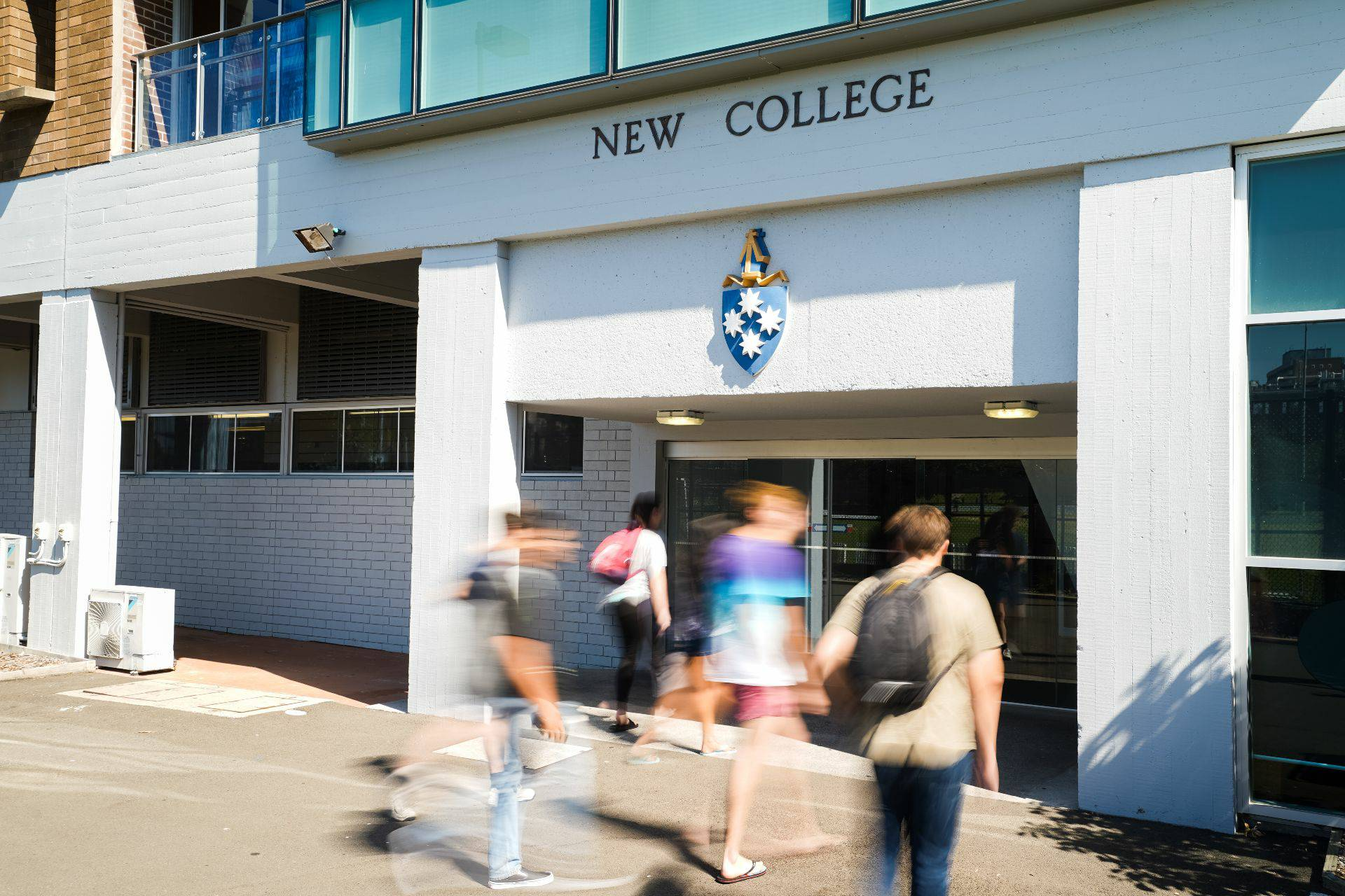Residents enter rear of New College